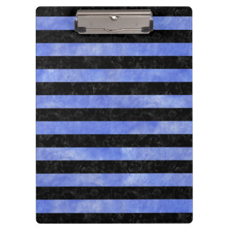STRIPES2 BLACK MARBLE & BLUE WATERCOLOR CLIPBOARD