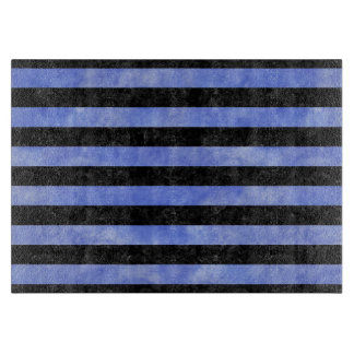 STRIPES2 BLACK MARBLE & BLUE WATERCOLOR CUTTING BOARD