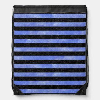 STRIPES2 BLACK MARBLE & BLUE WATERCOLOR DRAWSTRING BAG