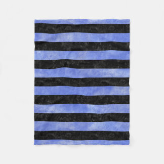 STRIPES2 BLACK MARBLE & BLUE WATERCOLOR FLEECE BLANKET