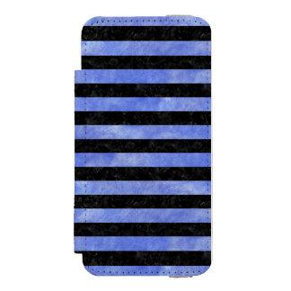 STRIPES2 BLACK MARBLE & BLUE WATERCOLOR INCIPIO WATSON™ iPhone 5 WALLET CASE