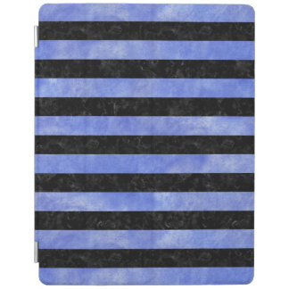 STRIPES2 BLACK MARBLE & BLUE WATERCOLOR iPad COVER