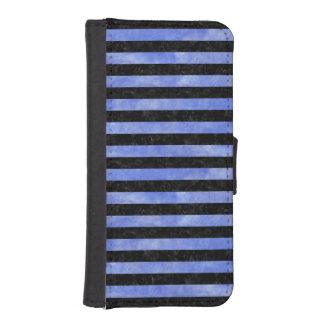 STRIPES2 BLACK MARBLE & BLUE WATERCOLOR iPhone SE/5/5s WALLET CASE