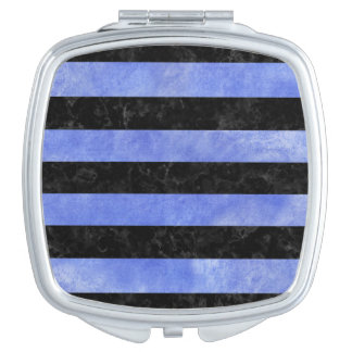 STRIPES2 BLACK MARBLE & BLUE WATERCOLOR MIRROR FOR MAKEUP