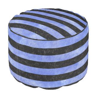 STRIPES2 BLACK MARBLE & BLUE WATERCOLOR POUF