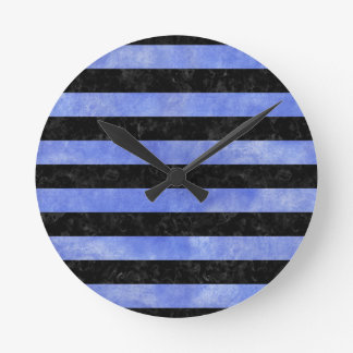 STRIPES2 BLACK MARBLE & BLUE WATERCOLOR ROUND CLOCK