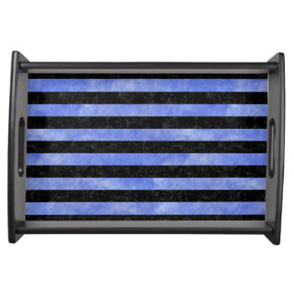STRIPES2 BLACK MARBLE & BLUE WATERCOLOR SERVING TRAY