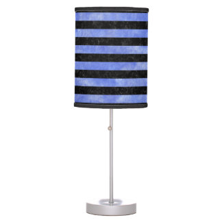 STRIPES2 BLACK MARBLE & BLUE WATERCOLOR TABLE LAMP