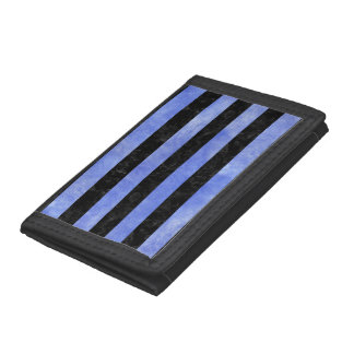 STRIPES2 BLACK MARBLE & BLUE WATERCOLOR TRI-FOLD WALLET