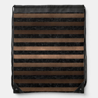 STRIPES2 BLACK MARBLE & BRONZE METAL DRAWSTRING BAG