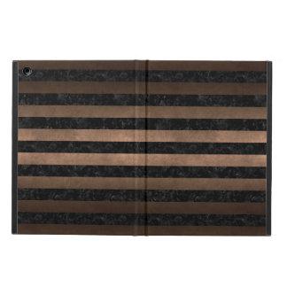 STRIPES2 BLACK MARBLE & BRONZE METAL iPad AIR COVER