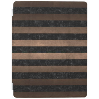 STRIPES2 BLACK MARBLE & BRONZE METAL iPad COVER