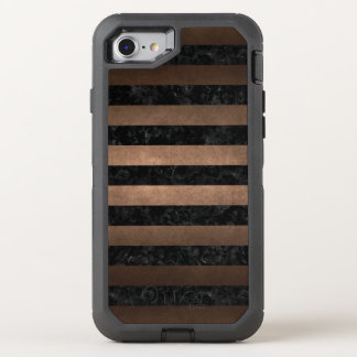 STRIPES2 BLACK MARBLE & BRONZE METAL OtterBox DEFENDER iPhone 8/7 CASE