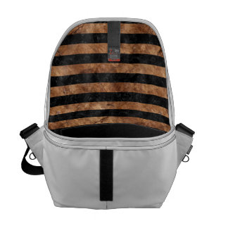 STRIPES2 BLACK MARBLE & BROWN STONE COURIER BAGS