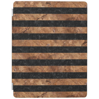 STRIPES2 BLACK MARBLE & BROWN STONE iPad COVER