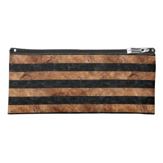 STRIPES2 BLACK MARBLE & BROWN STONE PENCIL CASE