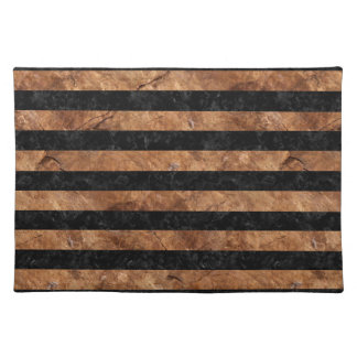 STRIPES2 BLACK MARBLE & BROWN STONE PLACEMAT