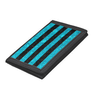 STRIPES2 BLACK MARBLE & TURQUOISE MARBLE TRI-FOLD WALLETS
