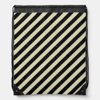STRIPES3 BLACK MARBLE & BEIGE LINEN DRAWSTRING BAG