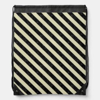 STRIPES3 BLACK MARBLE & BEIGE LINEN (R) DRAWSTRING BAG