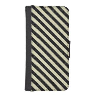 STRIPES3 BLACK MARBLE & BEIGE LINEN (R) iPhone SE/5/5s WALLET CASE