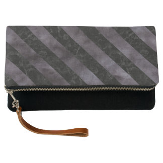 STRIPES3 BLACK MARBLE & BLACK WATERCOLOR (R) CLUTCH