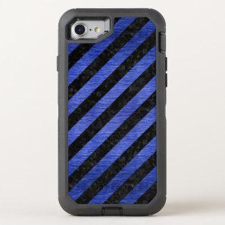 STRIPES3 BLACK MARBLE & BLUE BRUSHED METAL OtterBox DEFENDER iPhone 8/7 CASE