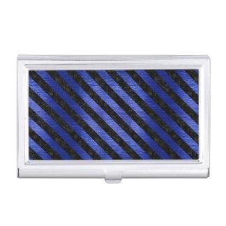 STRIPES3 BLACK MARBLE & BLUE BRUSHED METAL (R) BUSINESS CARD HOLDER