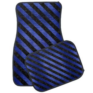STRIPES3 BLACK MARBLE & BLUE BRUSHED METAL (R) CAR MAT