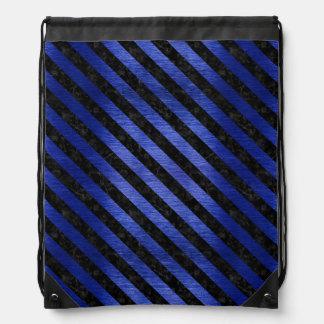 STRIPES3 BLACK MARBLE & BLUE BRUSHED METAL (R) DRAWSTRING BAG