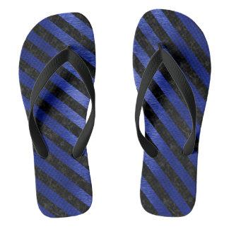 STRIPES3 BLACK MARBLE & BLUE BRUSHED METAL (R) FLIP FLOPS