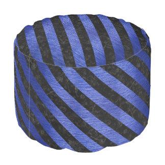 STRIPES3 BLACK MARBLE & BLUE BRUSHED METAL (R) POUF
