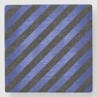 STRIPES3 BLACK MARBLE & BLUE BRUSHED METAL STONE COASTER