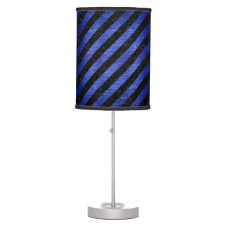 STRIPES3 BLACK MARBLE & BLUE BRUSHED METAL TABLE LAMP