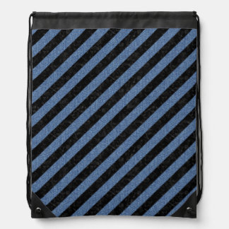STRIPES3 BLACK MARBLE & BLUE DENIM DRAWSTRING BAG
