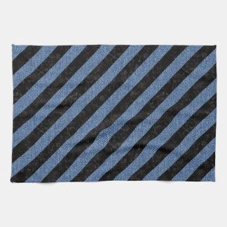STRIPES3 BLACK MARBLE & BLUE DENIM HAND TOWELS