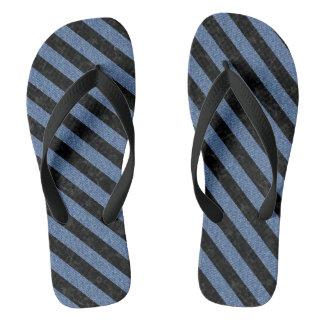 STRIPES3 BLACK MARBLE & BLUE DENIM (R) FLIP FLOPS