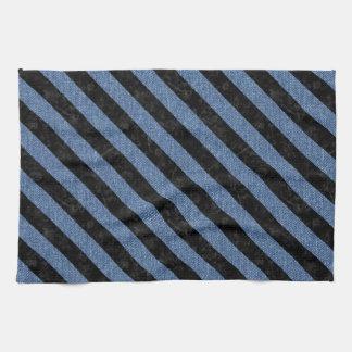 STRIPES3 BLACK MARBLE & BLUE DENIM (R) TOWEL