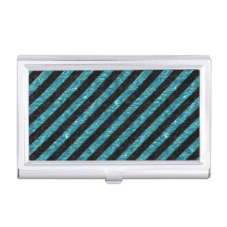 STRIPES3 BLACK MARBLE & BLUE-GREEN WATER BUSINESS CARD HOLDER