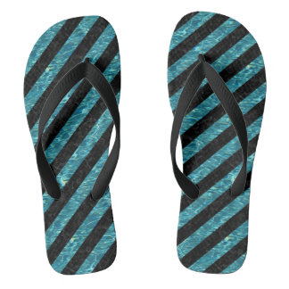 STRIPES3 BLACK MARBLE & BLUE-GREEN WATER FLIP FLOPS