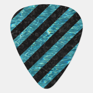 STRIPES3 BLACK MARBLE & BLUE-GREEN WATER GUITAR PICK