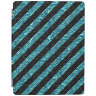 STRIPES3 BLACK MARBLE & BLUE-GREEN WATER iPad COVER