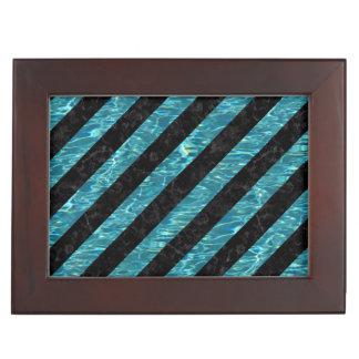 STRIPES3 BLACK MARBLE & BLUE-GREEN WATER KEEPSAKE BOX