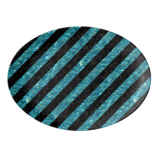 STRIPES3 BLACK MARBLE & BLUE-GREEN WATER PORCELAIN SERVING PLATTER