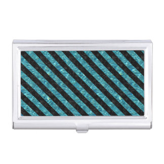 STRIPES3 BLACK MARBLE & BLUE-GREEN WATER (R) BUSINESS CARD HOLDER