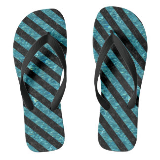 STRIPES3 BLACK MARBLE & BLUE-GREEN WATER (R) FLIP FLOPS