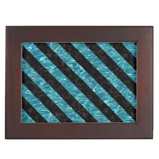 STRIPES3 BLACK MARBLE & BLUE-GREEN WATER (R) KEEPSAKE BOX