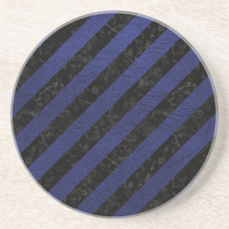STRIPES3 BLACK MARBLE & BLUE LEATHER COASTER