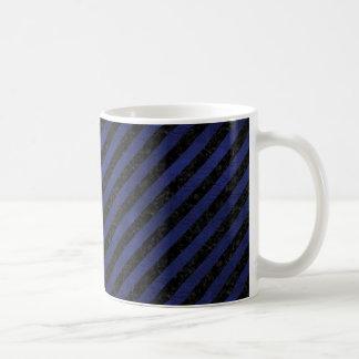 STRIPES3 BLACK MARBLE & BLUE LEATHER COFFEE MUG