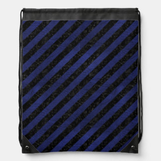 STRIPES3 BLACK MARBLE & BLUE LEATHER DRAWSTRING BAG
